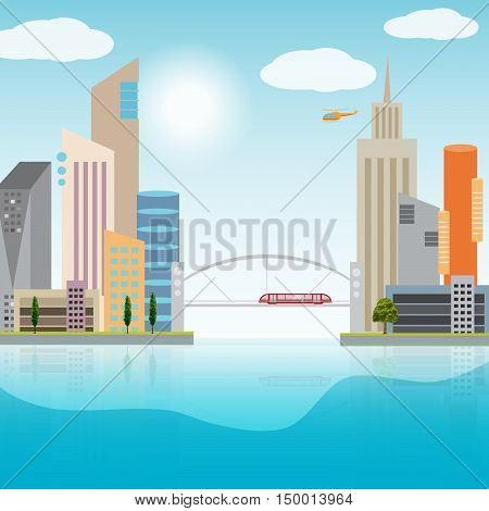 Urban cityscape with colorful buildings and city transportation