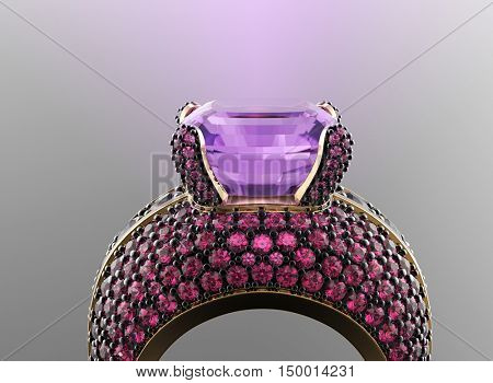 3D illustration of gold Ring with Diamond. Jewelry background. Fashion accessory. Amethyst