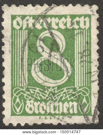 MOSCOW RUSSIA - CIRCA SEPTEMBER 2016: a stamp printed in AUSTRIA shows a digit the series