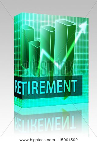 Software package box Retirement finances illustration of bar chart diagram