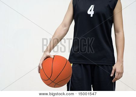 Asian basketball player holding ball