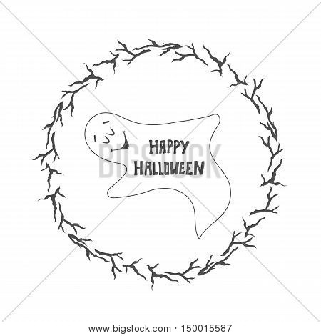 Happy Halloween card. Funny ghost. Halloween poster card with ghosts.
