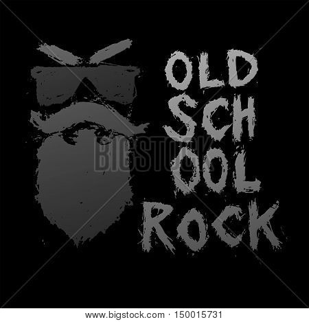 Vintage poster Old school rock - unique hand drawn lettering. Rock music print, hipster vintage label, graphic design with grunge effect, tee print stamp. t-shirt lettering artwork