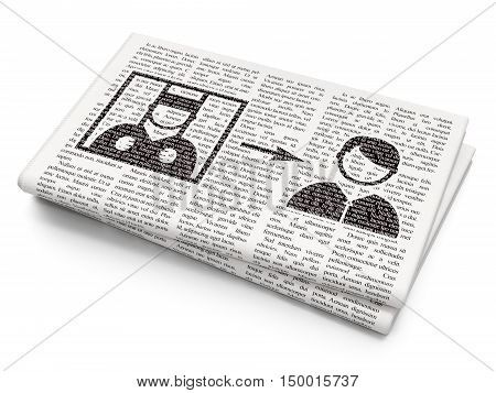 Law concept: Pixelated black Criminal Freed icon on Newspaper background, 3D rendering