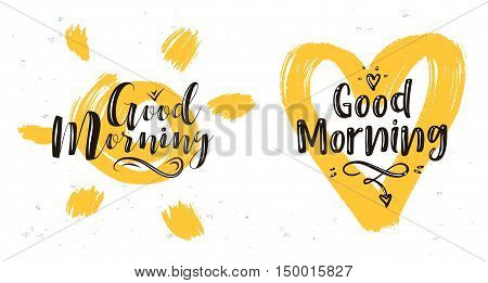 God morning. Lettering with heart and sun. Modern calligraphy style set. Vector stock ilustration