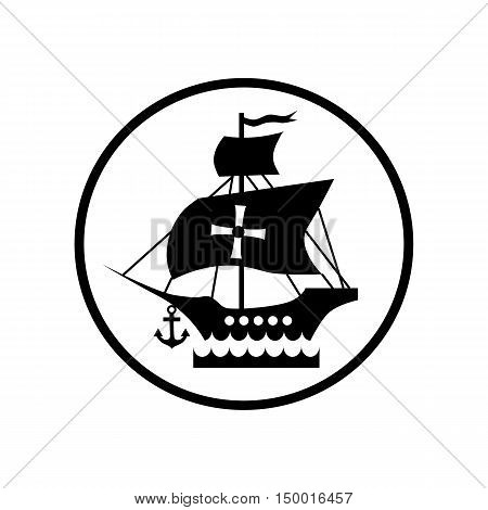 Ship with flag of Columbus icon in simple style isolated on white background. Maritime transport symbol vector illustration