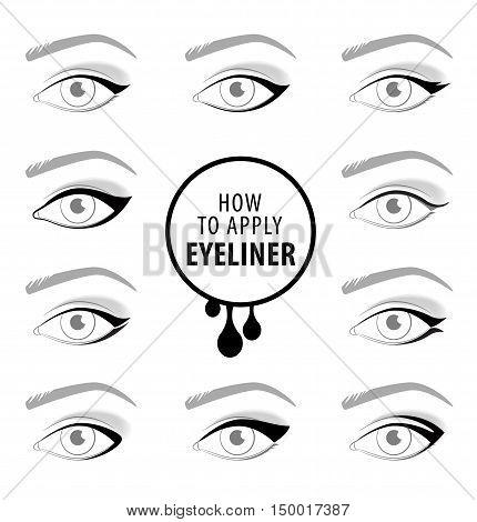 Various types of eyeliner, vector set tutorial