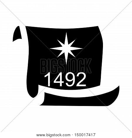 Scroll with date 1492 of Columbus day icon in simple style isolated on white background. Holiday symbol vector illustration