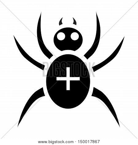Black spider icon in simple style isolated on white background. Insect symbol vector illustration