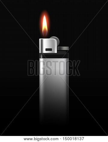 Vector Blank Metal Lighter with Flame Close up Isolated on Black Background