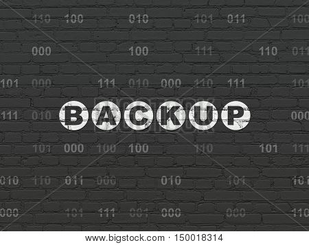 Database concept: Painted white text Backup on Black Brick wall background with Binary Code