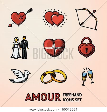 Set of hand drawn Love Amour icons with - heart with arrow, two hearts, cupid bow, couple, heart with pulse, heart locker, bird, rings, champagne. Vector illustration