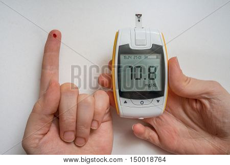 Diabetic Patient Is Using Glucometer To Check Glucose Level. Blo