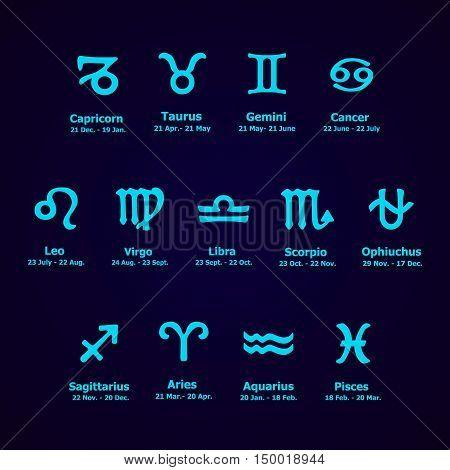 Zodiac Icons. Horoscope Set.