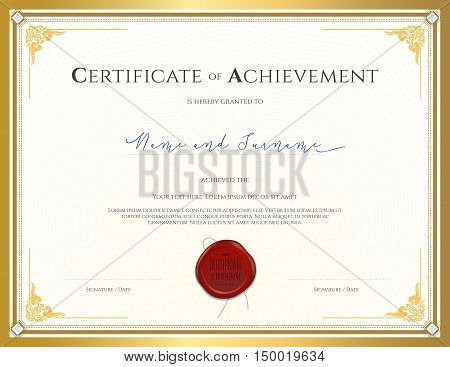 Certificate template for achievement appreciation completion or participation with applied Thai frame and red wax seal
