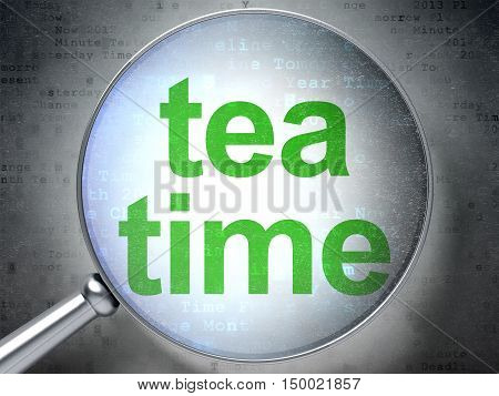 Time concept: magnifying optical glass with words Tea Time on digital background, 3D rendering