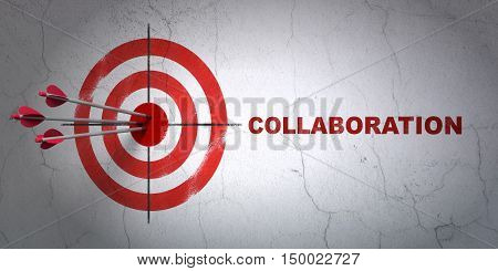 Success business concept: arrows hitting the center of target, Red Collaboration on wall background, 3D rendering