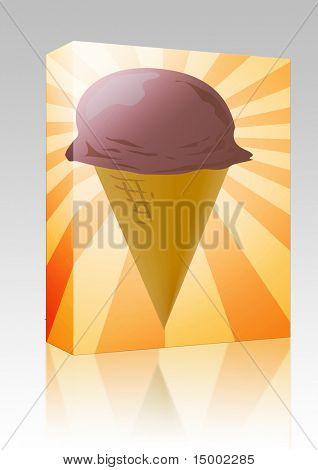 Software package box Ice cream cone illustration, chocolate scoop on radial burst background