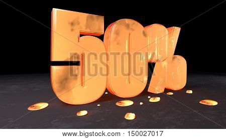 Number Discount Of Fifty Percent Made With Incandescent Metal