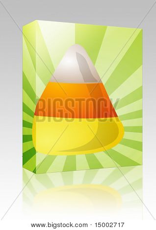 Software package box Candy corn sweet confection, illustration on radial burst