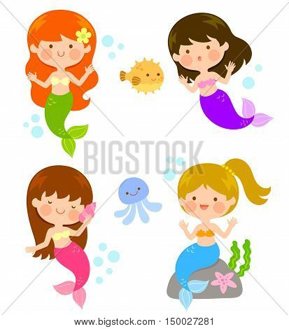 four cute cartoon mermaids under the sea