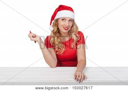 Christmas Girl With Pen, Xmas Concept Isolated05