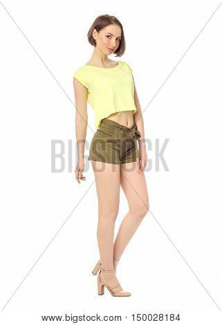 Woman with long sexy legs wearing short shorts