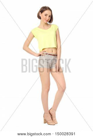 Woman With Long Sexy Legs Wearing Short Shorts Isolated