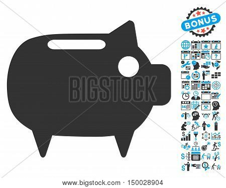 Piggy Bank pictograph with bonus calendar and time management symbols. Vector illustration style is flat iconic bicolor symbols, blue and gray colors, white background.