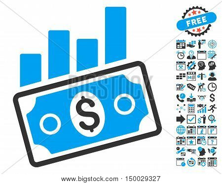 Sales Bar Chart pictograph with bonus calendar and time management images. Vector illustration style is flat iconic bicolor symbols, blue and gray colors, white background.