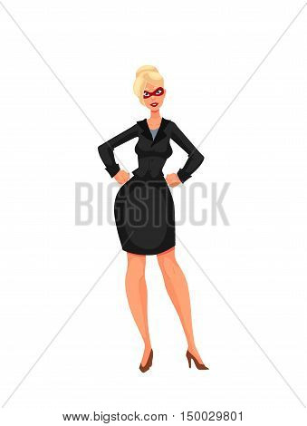 Business woman in superhero mask, cartoon style illustration isolated on white background. Super power girl in business suit and heels, businesswoman as superhero concept