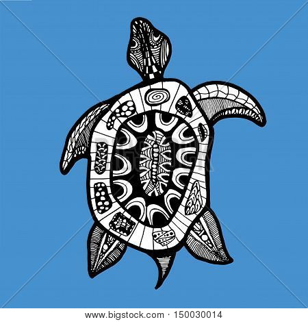 Turtle. Sea turtle. The inhabitants of the sea. Animal. Zoo. Herbivores. Line art. Tattoo. Black and white. Stylized. Decorative. Drawing by hand. Isolated. Background.