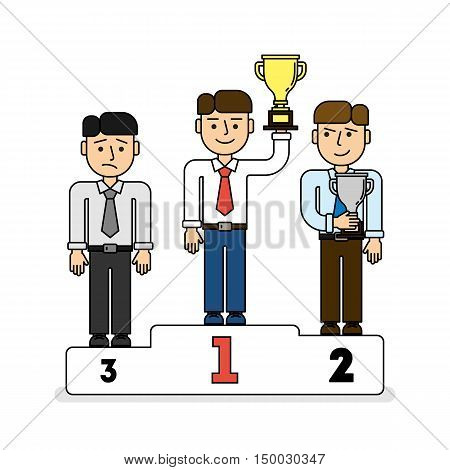 Three men on pedestal. Three places. Leader with golden cup, secon place with silver cup. Sad third contestant.