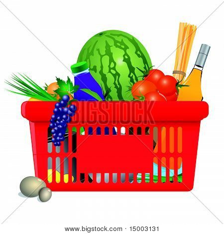 Vector healthy shopping cart: