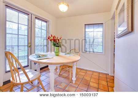White Dining Room With French Door And Orange Ceramic Tiles