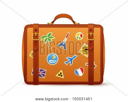 Orange leather vector suitcase with travelers stickers isolated on white background