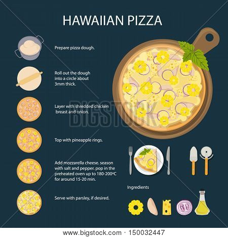 Hawaiian pizza recipe. Fast food meal. Pizza with cheese, pineapple, ham and more. Hot and fresh snack.