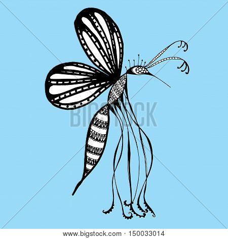 Mosquito painted by hand. Insect. Black and white drawing. Line art. Doodle. Zentangl.