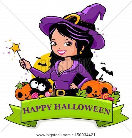 Happy Halloween banner with a beautiful witch holding her magic wand, pumpkins, a black cat, bats and candy. Vector illustration