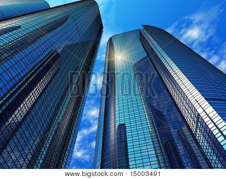 Modern blue reflective office buildings