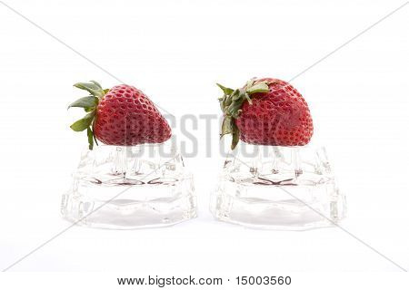 Strawberries On Glass.