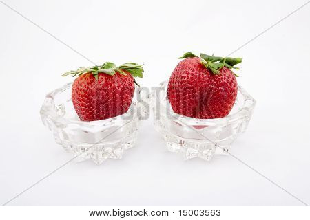 Strawberries In A Glass Bowl.