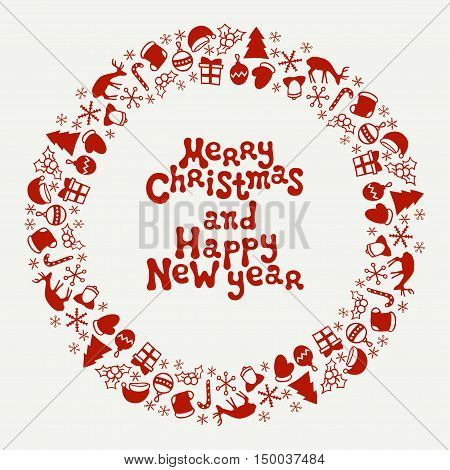 Merry Christmas and Happy New Year lettering greeting card 2017. Christmas season hand drawn pattern. Vector illustration. Doodle style. Decorations. Holiday backgrounds for design. Frame