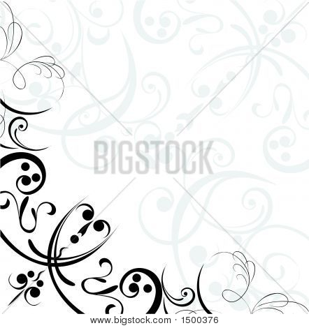 Floral Corner In Black And White Colors