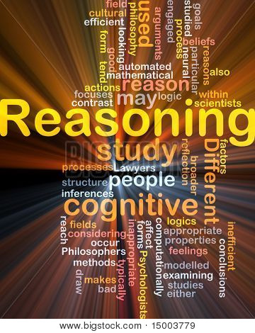 Background concept wordcloud illustration of cognitive reasoning logic  glowing light