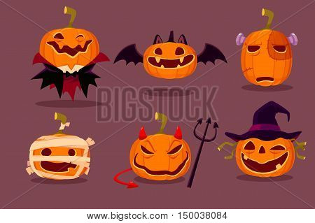 Illustration set of halloween pumpkins in halloween character costumes