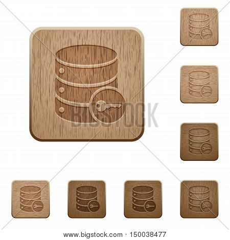 Set of carved wooden secure database buttons in 8 variations.
