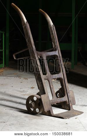 Two wheeled hand truck vintagge tools industry.