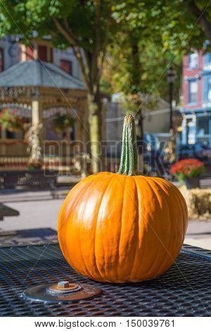 A pumpkin on display for a Fall festival in Jim Thorpe Pennsylvania.