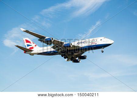 London, Heathrow, UK - 03 october 2016: Boeing 747 Jumbo jet British Airways landing at London Heathrow airport